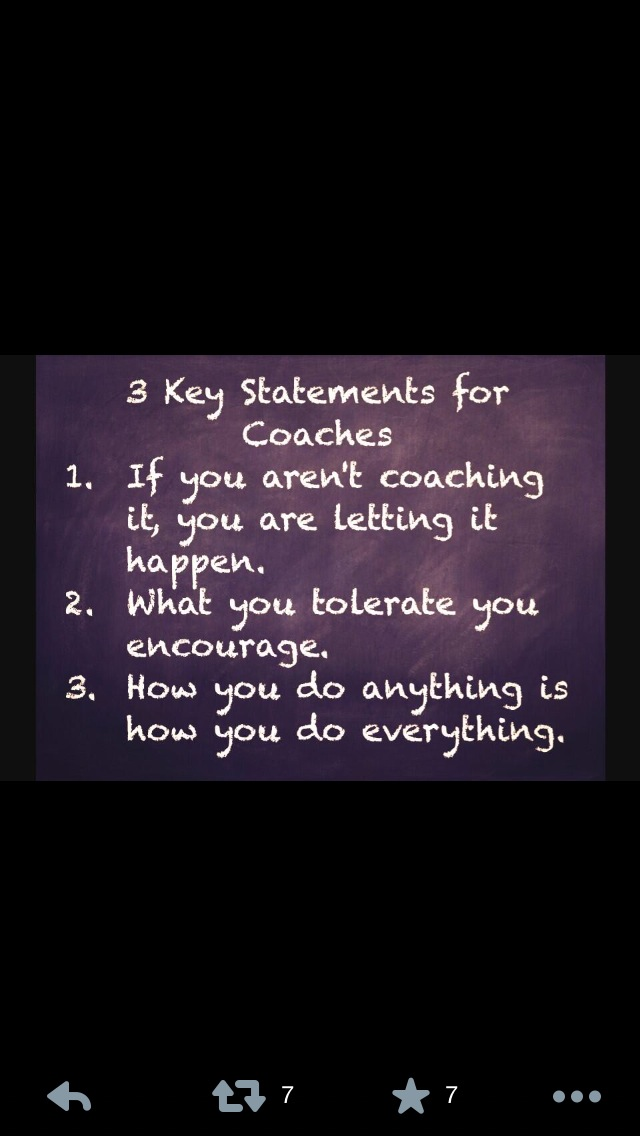 Key statements for coaches in any sport