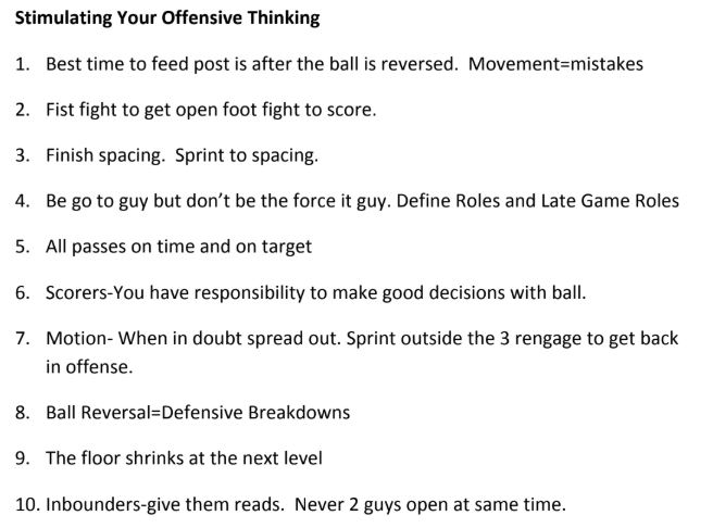 10 Things to Stimulate Your Offensive Thinking